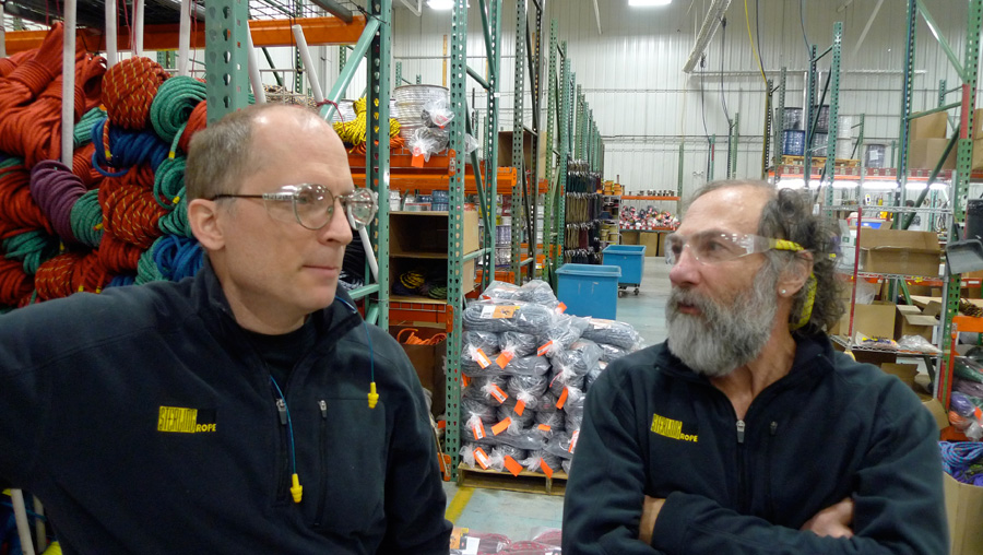 Keen climbers and rope experts, Jim Ewing - Sterling Product Engineer and Paul Niland International Sales Manager., 205 kb
