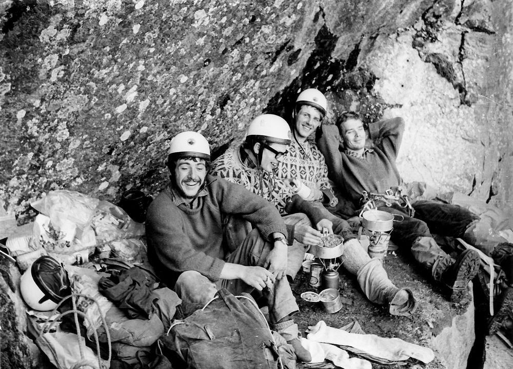 Tony Howard, Bill Tweedale, John Amatt and Tony 'Nick' Nicholls at the first bivouac on the first attempt. , 208 kb