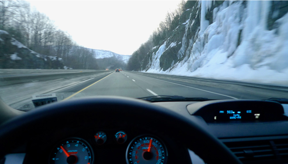 Driving down the Mass' Turnpike en route to Sterling Rope, Maine, USA, 132 kb