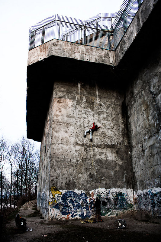 The Humboldthain Bunker in Berlin is now an official climbing venue with fixed equipment. It was built in 1942., 140 kb
