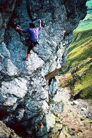 Epicentre Staff member Woody on Warrior (White Ghyll) E5 6a 1993, 126 kb