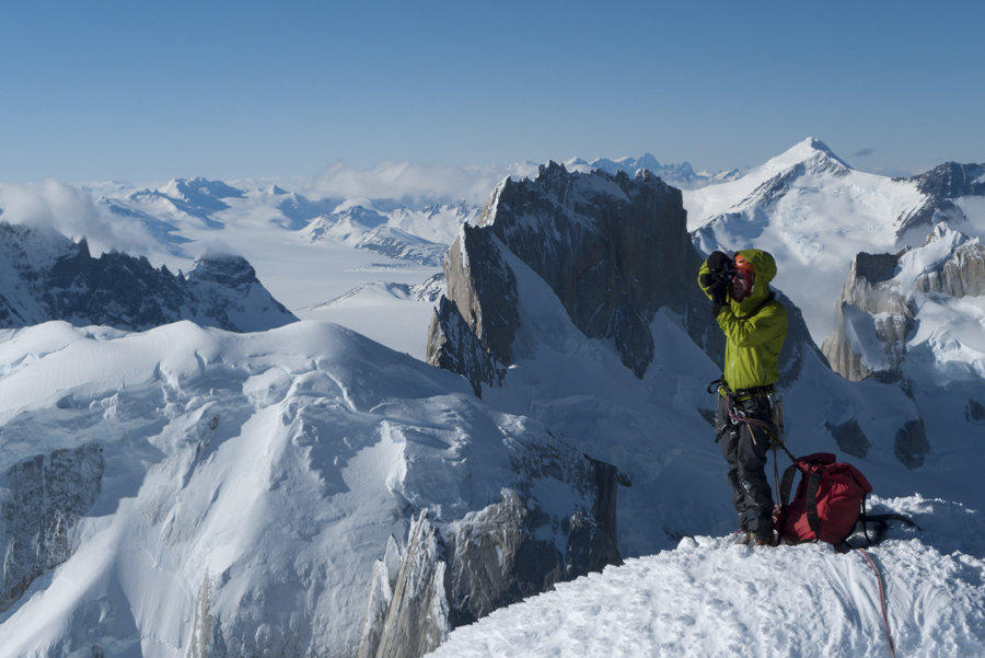Jon Griffith on the Summit of Cerro Standhart, Patagonia, 119 kb