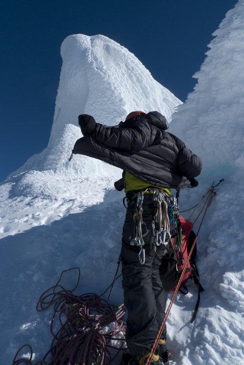PHD Alpine Ultra- just below the summit of Cerro Standhart on Exocet. Patagonia, 95 kb