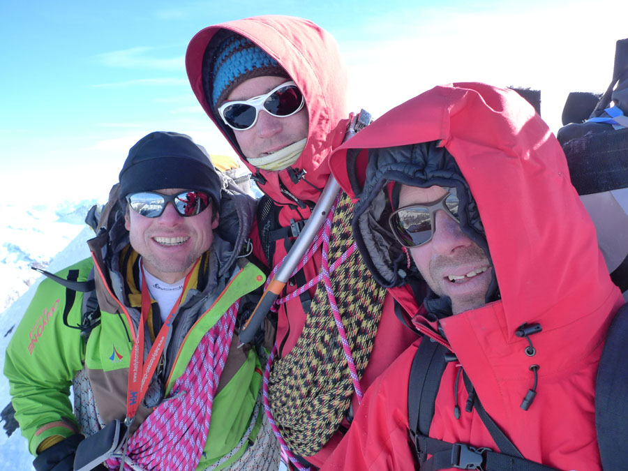 Summit of the Eiger- From left to right: Paulo Robach, Cedric PERILLAT-MERCEROZ, Patrice Glairon Rappaz, 167 kb