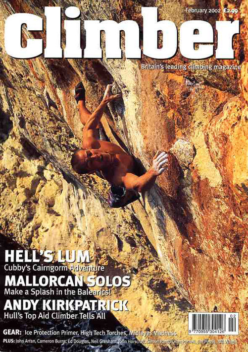 Climber magazine front cover Feb 2002; Photo by Mike Robertson., 190 kb