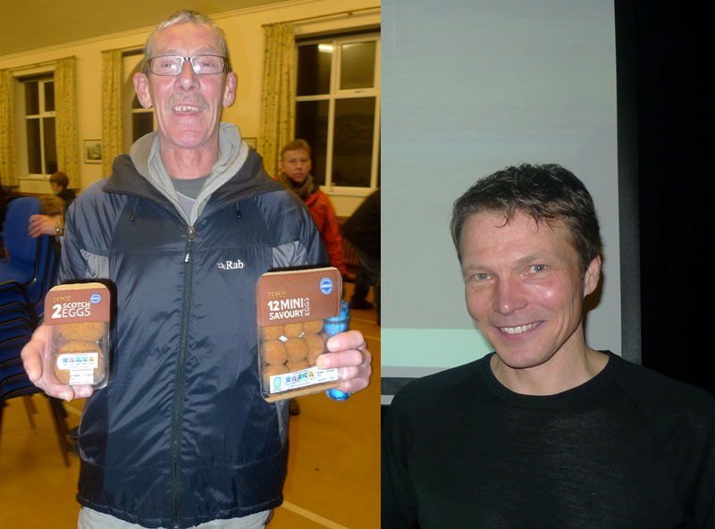 Ron Fawcett and Stephen 'Spyke' Pyke at Hathersage Memorial Hall last Thursday, 77 kb
