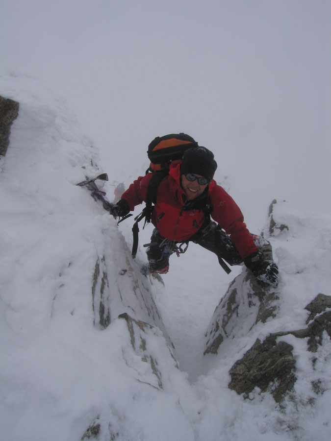 Adam Wainwright tackling the crux of Piz Buin in full Scottish conditions. , 70 kb