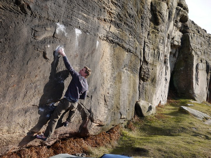 Micky Page climbing the sit start to Working Class, 135 kb