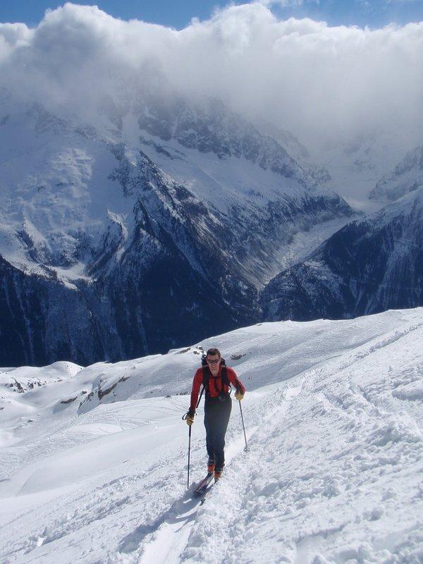 Jack Geldard wearing a Mammut Pulse Transceiver and using Fizan Everest Poles on the Glacier Mort, France, 84 kb