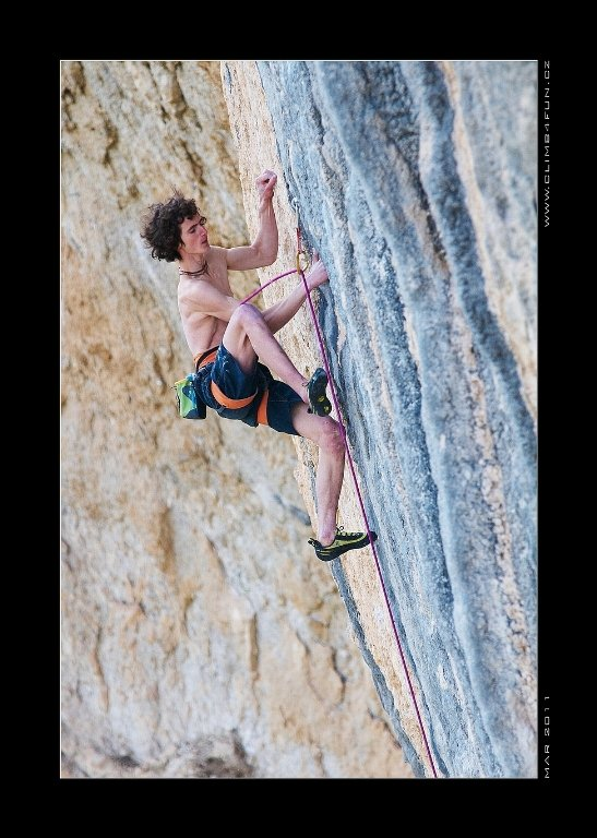 Adam Ondra onsighting the Chris Sharma route 'Mind Control' 8c+ at Oliana, Spain, 87 kb