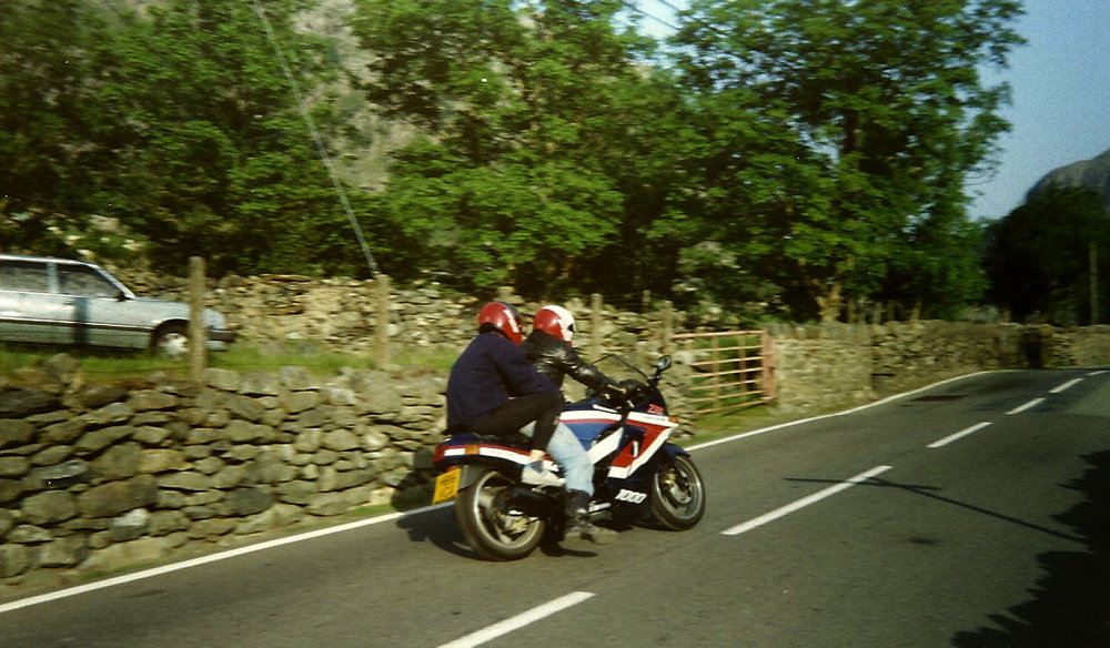 On the back of a Suzuki 1000, about to hit 100mph up the pass and 150 down to Capel Curig. - 1991 , 167 kb
