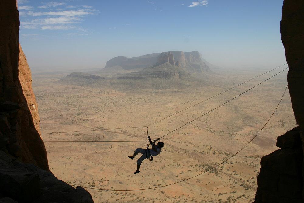 Tyrolean traverse in Mali Africa, 102 kb