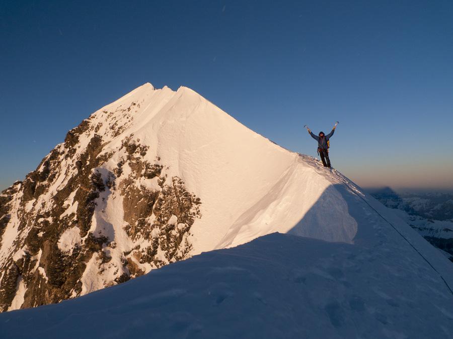 Rob Greenwood on the summit ridge of the Eiger (3970m), 182 kb