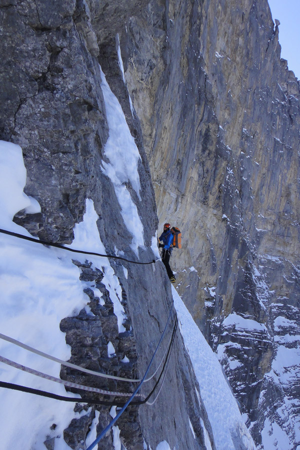 Jack Geldard following the Hinterstoisser Traverse, North Face of the Eiger, 213 kb