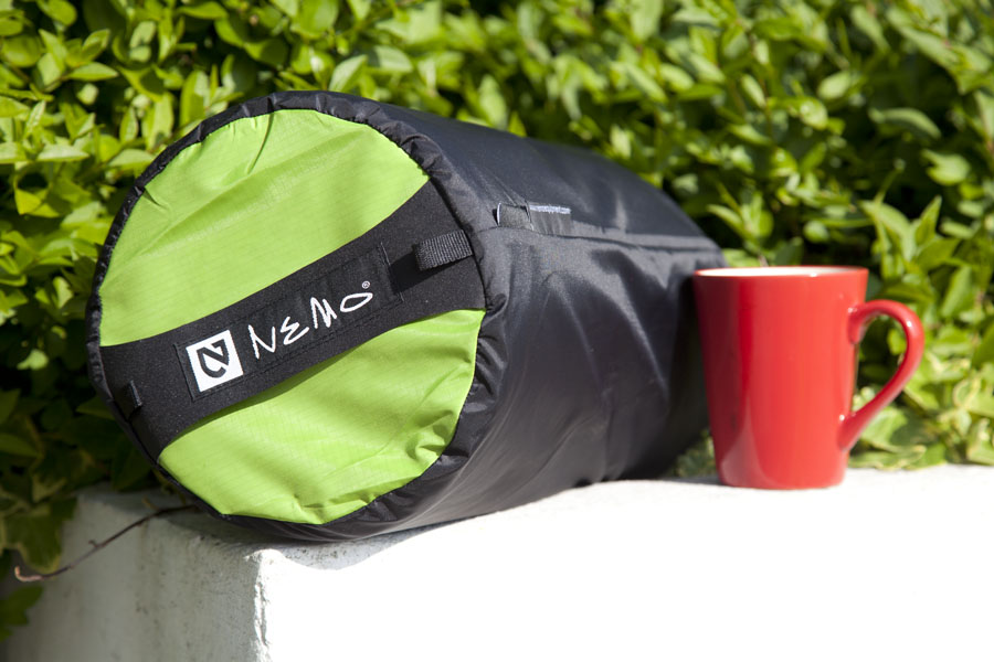 The Nemo Tuo 'Luxury' in its stuff sack - with a mug for scale., 110 kb