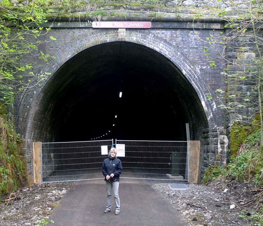 Rhonda Pursglove, project manager for Pedal Peak District outside the Chee Tor tunnel, 193 kb