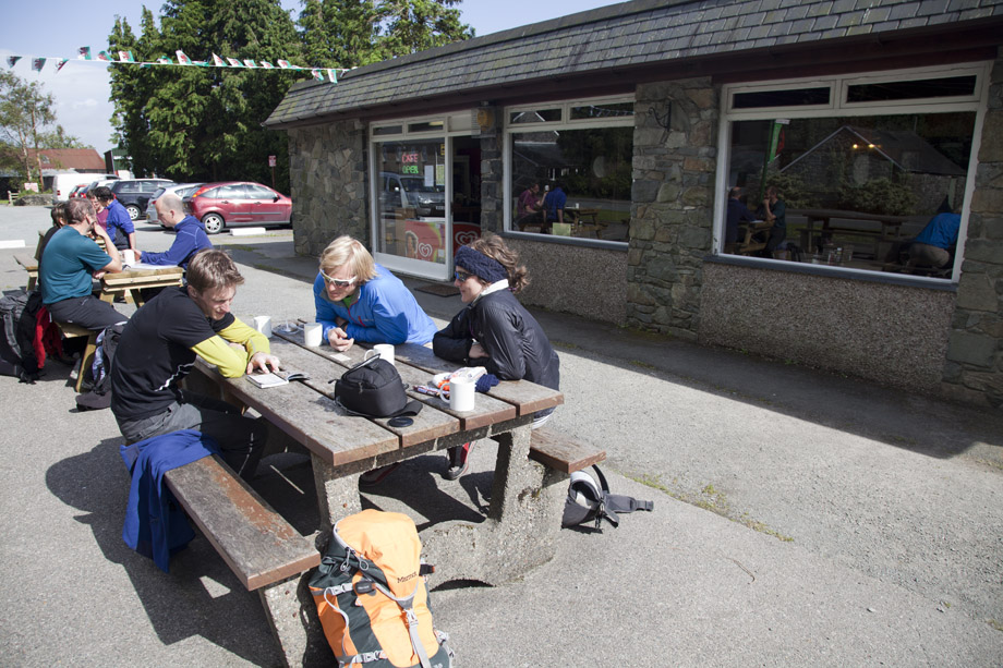 Jorg Verhoeven, Albert Leichfried and Sarah Burmester hanging out at Eric's Cafe, Tremadog, 222 kb