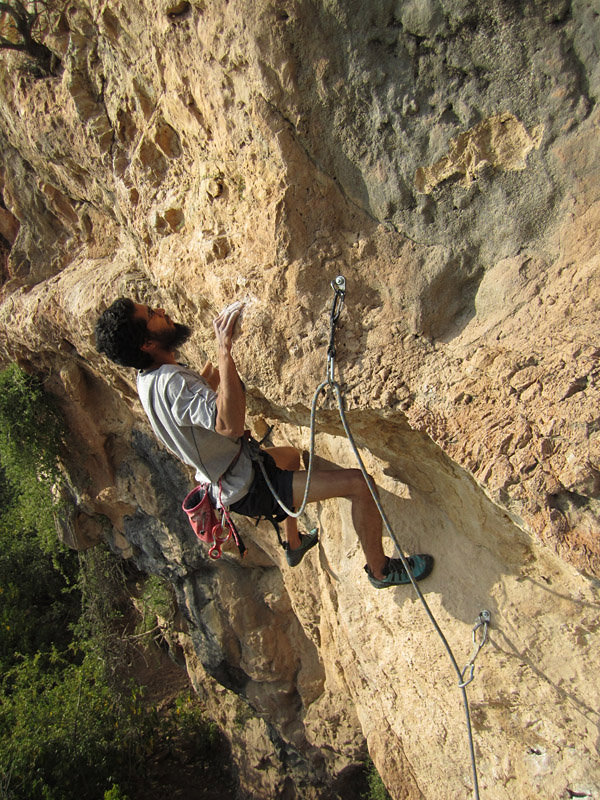 Fahad leading Puzzled Monkey (6c) - a 30m rite of passage for local climbers with ambition, 215 kb