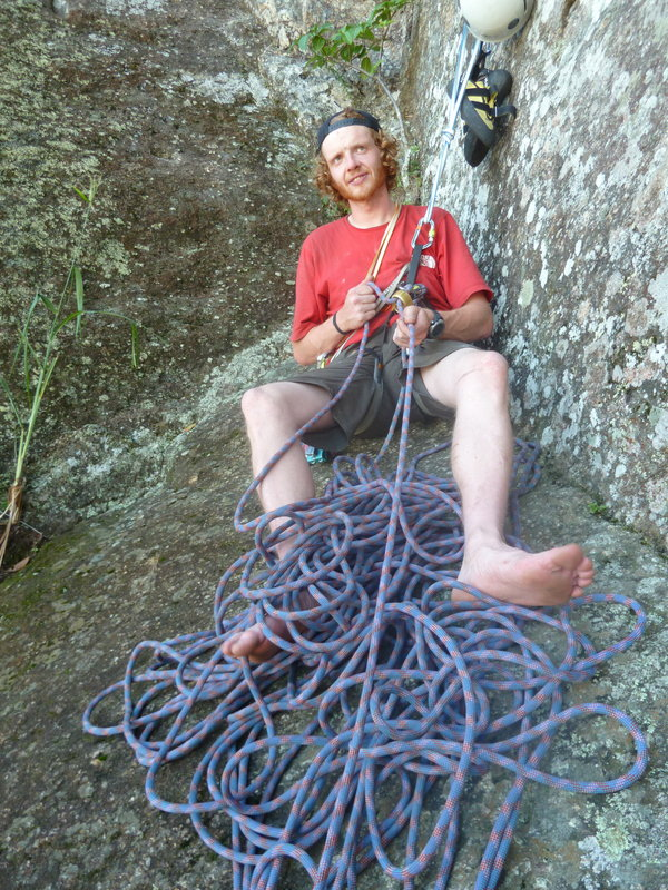 Me at the second belay on the route K2 that climbs up to the Christ the Redeemer statue on Corcovado in Rio de Janeiro, 183 kb