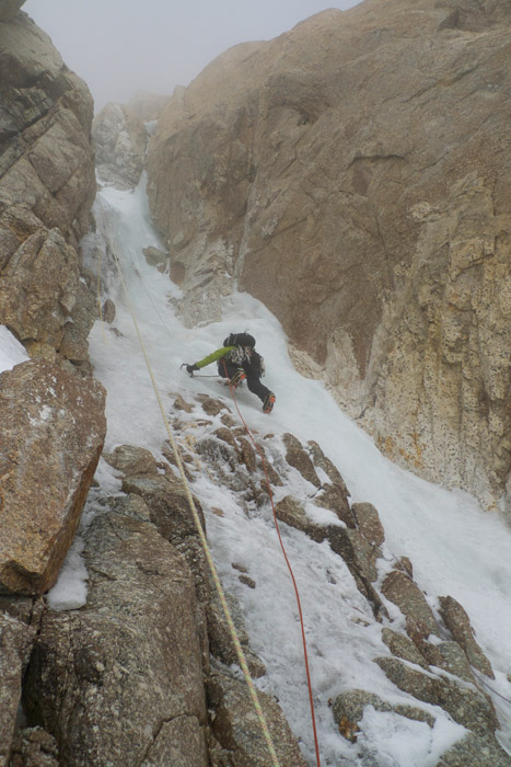 Jon Griffith heading up the Japanese couloir (start of the route), 121 kb