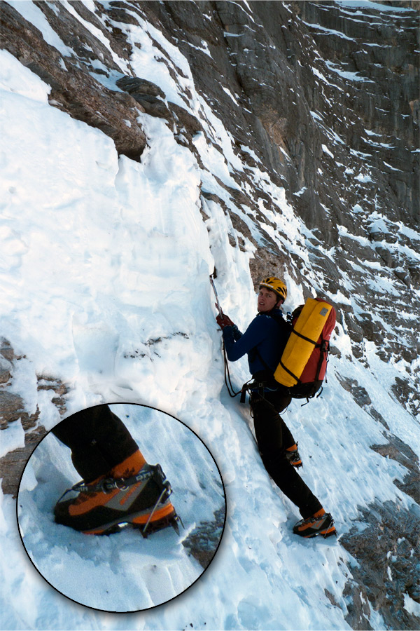 Rob Greenwood soloing in his Scarpa Phantom Guides on the lower slopes of the Eiger, 223 kb