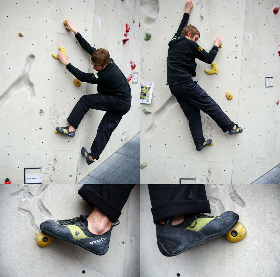 A well placed foot can pivot on a hold - here the climber has traversed past the hold and spun his foot, 161 kb
