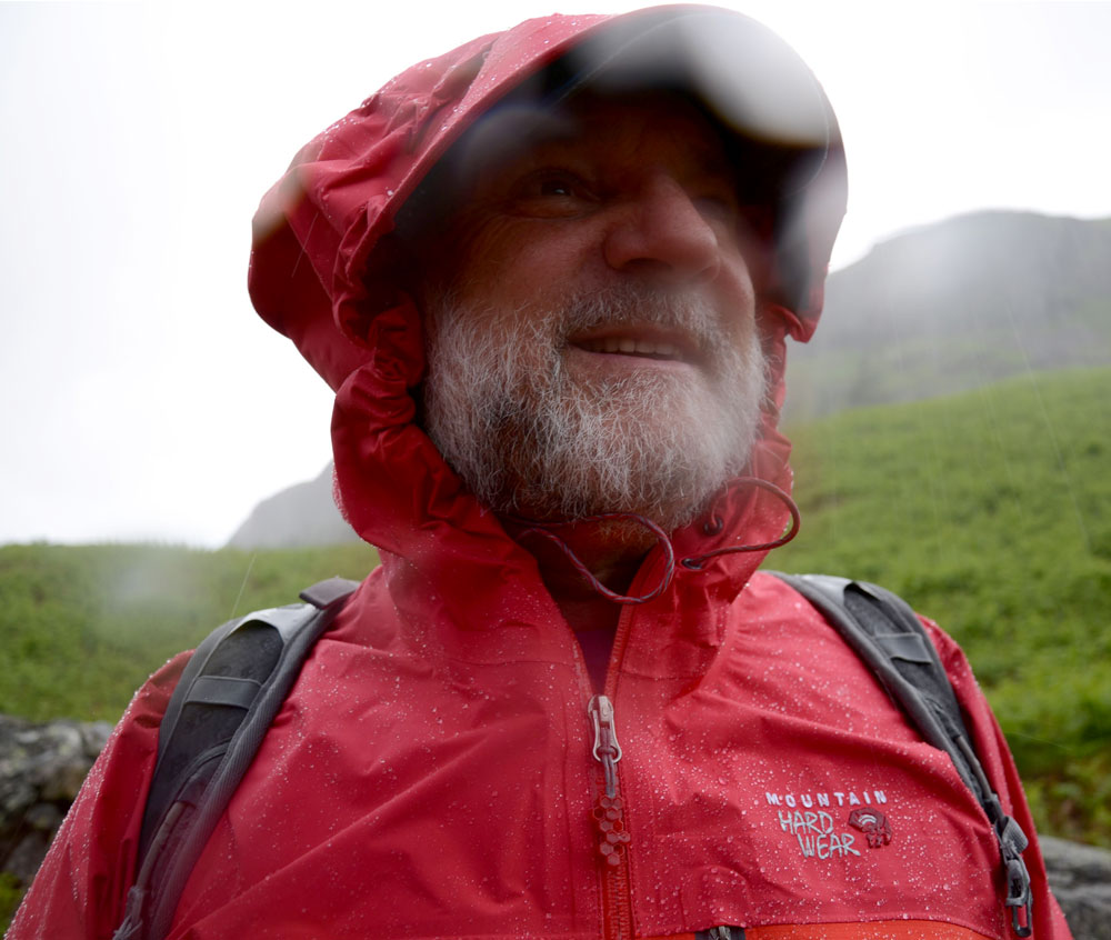 Cameron McNeish wearing the Mountain Hardwear DryQ Elite Drystein Jacket, in the rain!, 124 kb