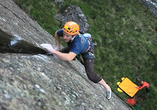 Charlie Woodburn making the second ascent of Apophenia E7/8, 87 kb
