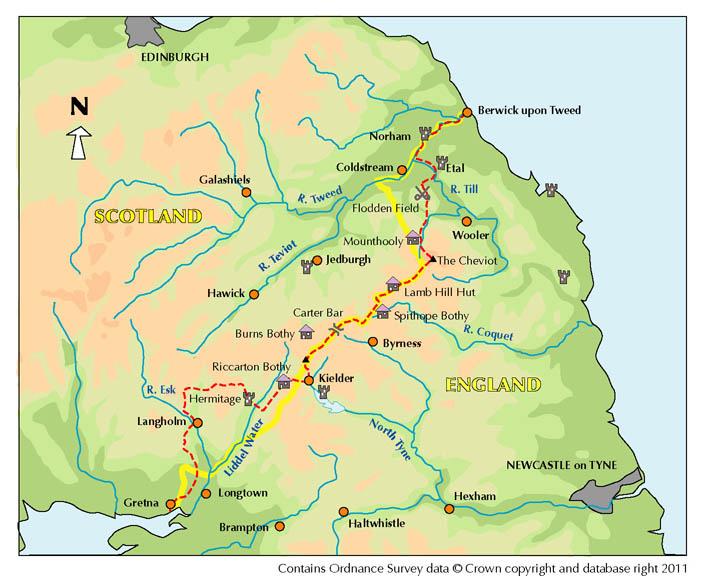 Anglo-Scottish Border Walk Map, 100 kb