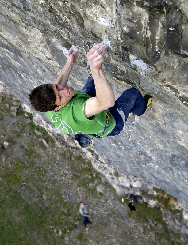 Alan Cassidy trying True North (8c) at Kilnsey back in 2007!, 172 kb