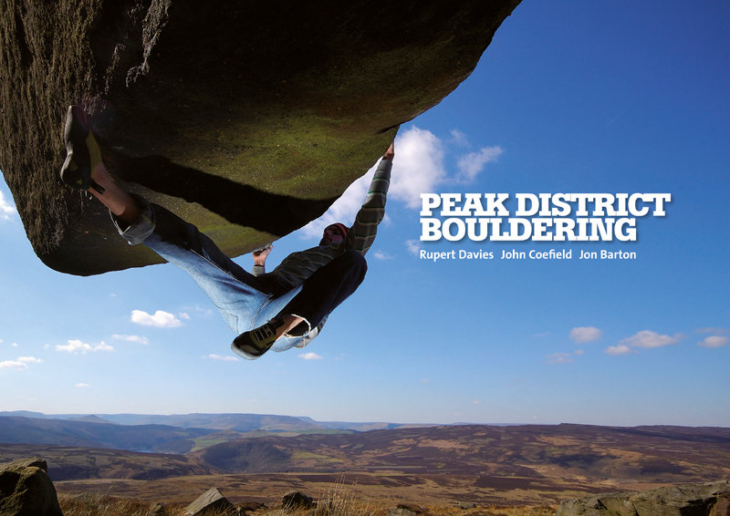 Peak District Bouldering Front Cover. Dave Norton on Low Rider, Stanage Far Left. Photo: David Parry, 119 kb