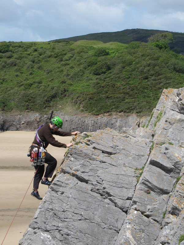 Rob Pettener testing the Camp Speed helmet at Three Cliffs Bay, Gower Peninsula, 142 kb