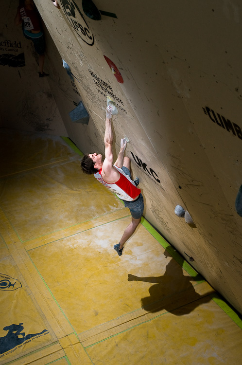 British climber Jon Partridge competing in the semi finals of the Sheffield world cup 2011, 164 kb