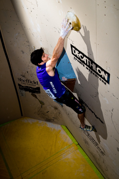 Men's winner was Kilian Fischuber of Austria, seen here undercutting the flared jam slot on problem 1!, 155 kb