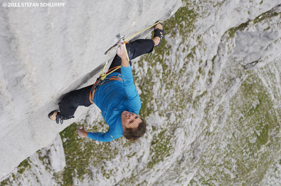 Nina Caprez on the perfect limestone of Silbergeier in the Rätikon, Switzerland., 138 kb