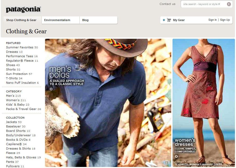 Patagonia Homepage, 176 kb