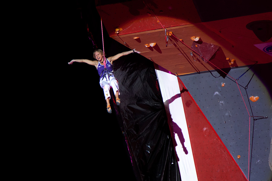 Austrian Angela Eiter lowering off happy after successfully topping out on the final route., 117 kb