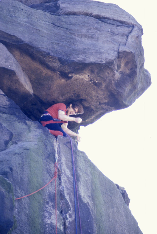Iain Edwards at the top of Wellington Crack at Ilkley, 111 kb