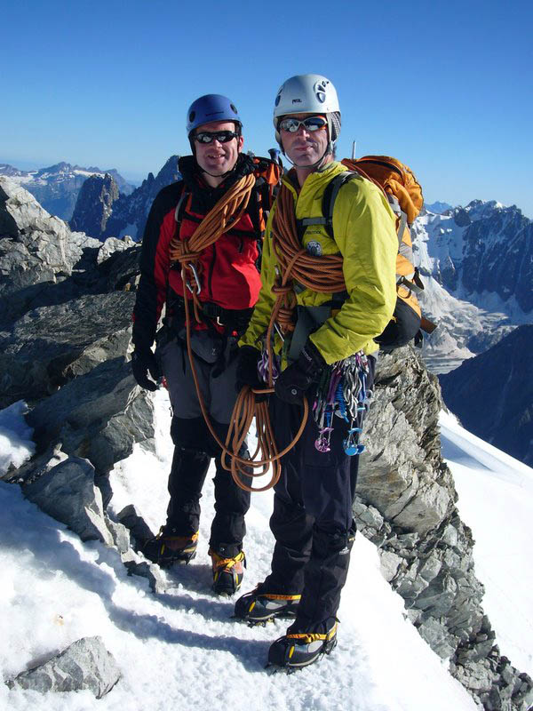 Owain Jones and Alan Renville on the summit of the  Aiguille de Rochefort, 117 kb