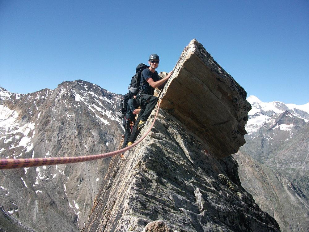 climbing along Dri Hornli Ridge in Switzerland, 214 kb