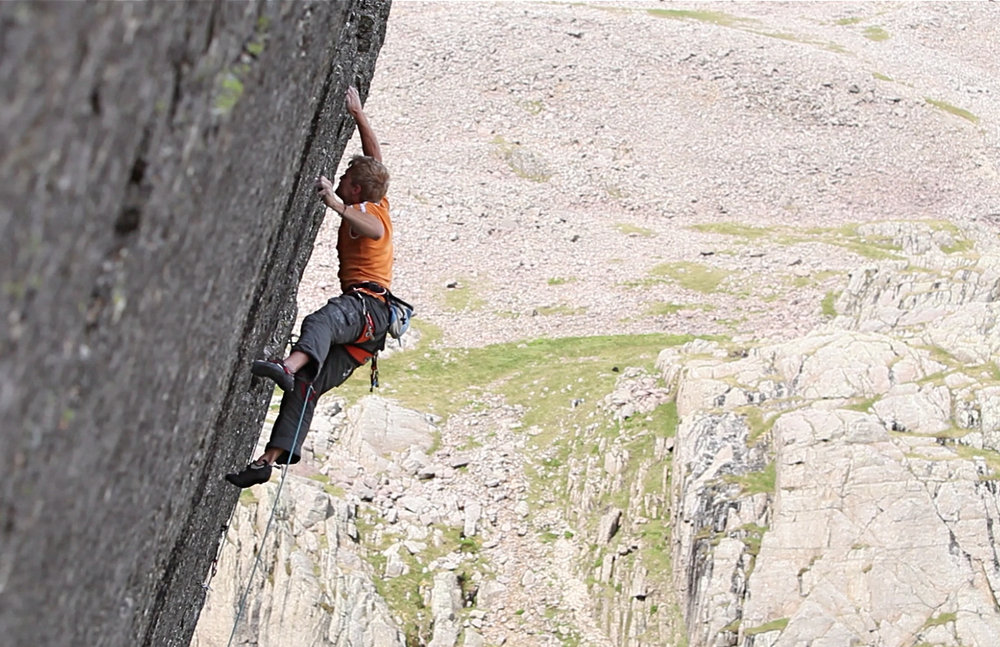 Adam Hocking making the second ascent of Return of the King (E9) on Scafell's East Buttress, 186 kb