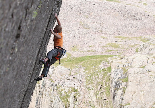 Adam Hocking making the second ascent of Return of the King (E9) on Scafell's East Buttress, 72 kb