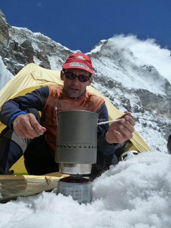 Acclimatising at 5700m at the col between Kyashar and Kusum Kanguru, the west ridge is above Nicks head, 127 kb