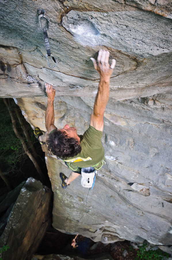 Russ Clune on the crux dyno move of Fuel Injector (5.13b)., 220 kb