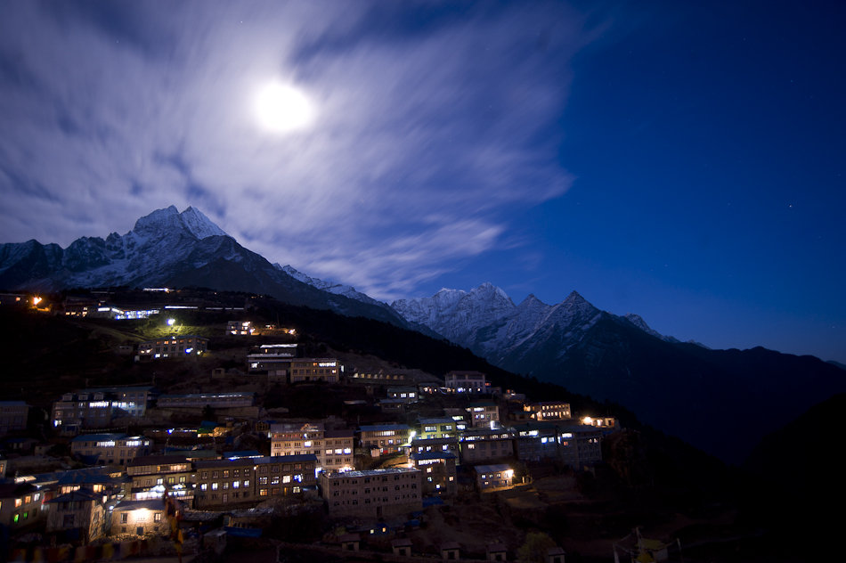 Namche Bazaar by moonlight: your last chance for showers and shoppping, 113 kb