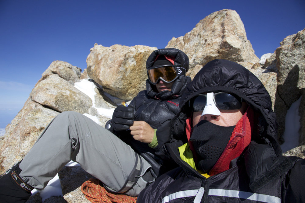 Chilling at 17 camp. Marmot Greenland downie on left and PHD Alpine ultra on right, 162 kb