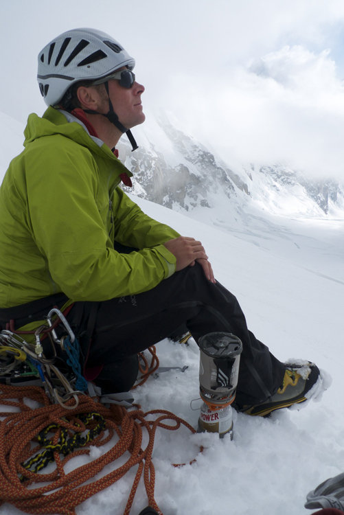 Arcteryx pants and Patagonia M10 jacket. Brewing up below the Cassin ridge, © Will Sim, 79 kb