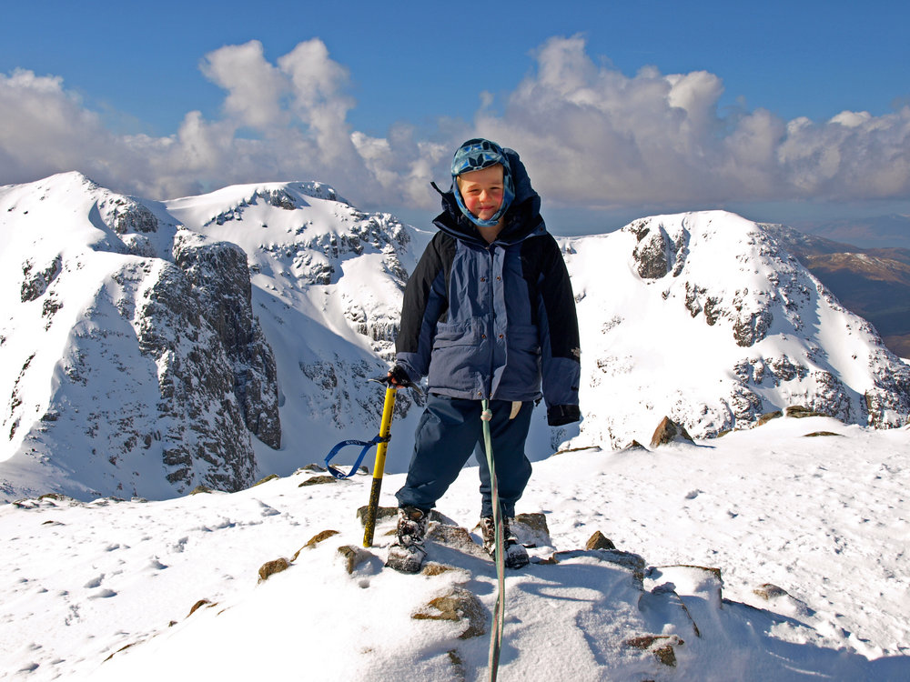 Ben at the summit of Stob Coire nan Lochan, aged 6, 187 kb