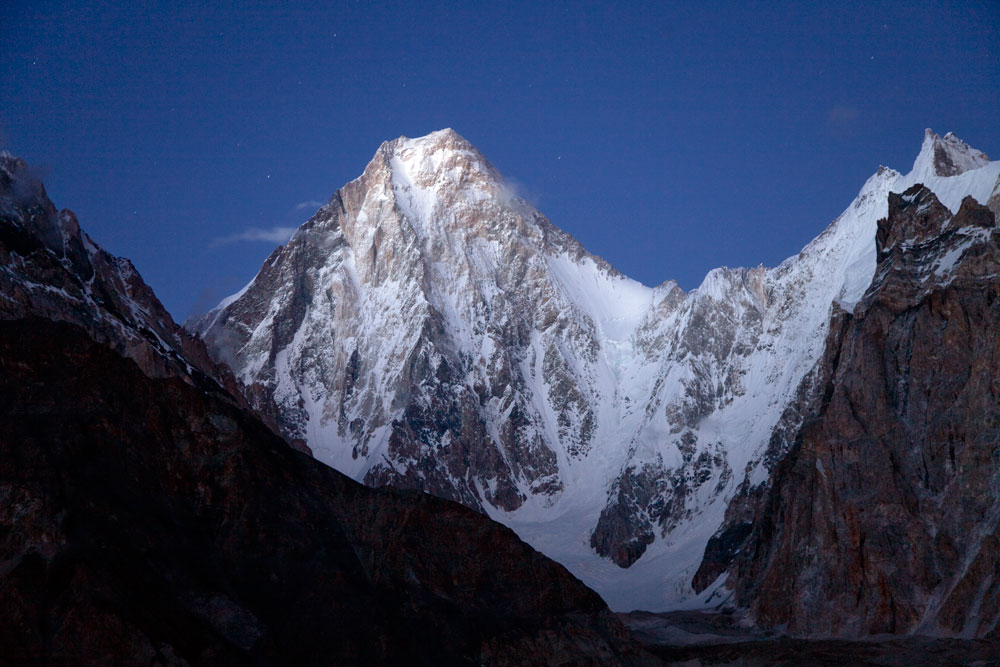 Night shot of Gasherbrum IV from Concordia, 130 kb