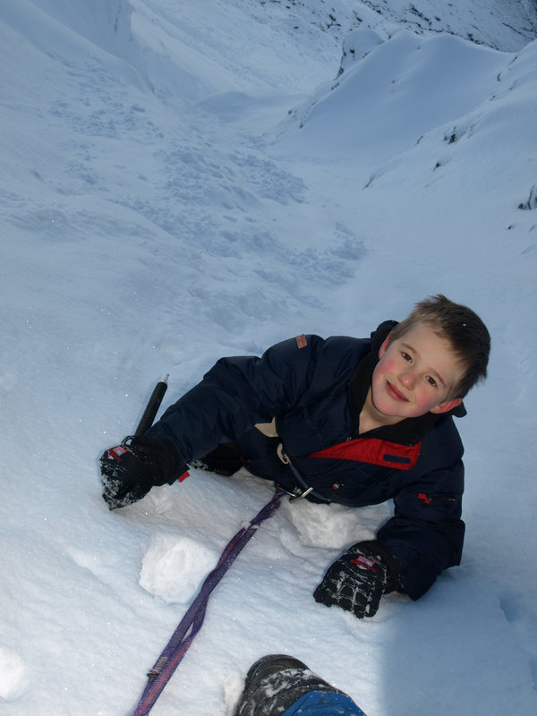 Ben aged 8 in Ben Lui's Central Gully, 76 kb
